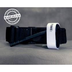 Torniquete ajustável para controle de hemorragias nas extremidades inferiores e superiores.